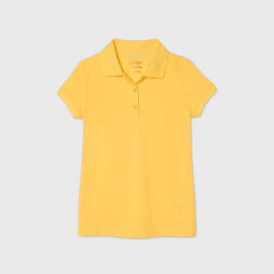 Girls' Short Sleeve Stretch Pique Uniform Polo Shirt - Cat & Jack™ Yellow