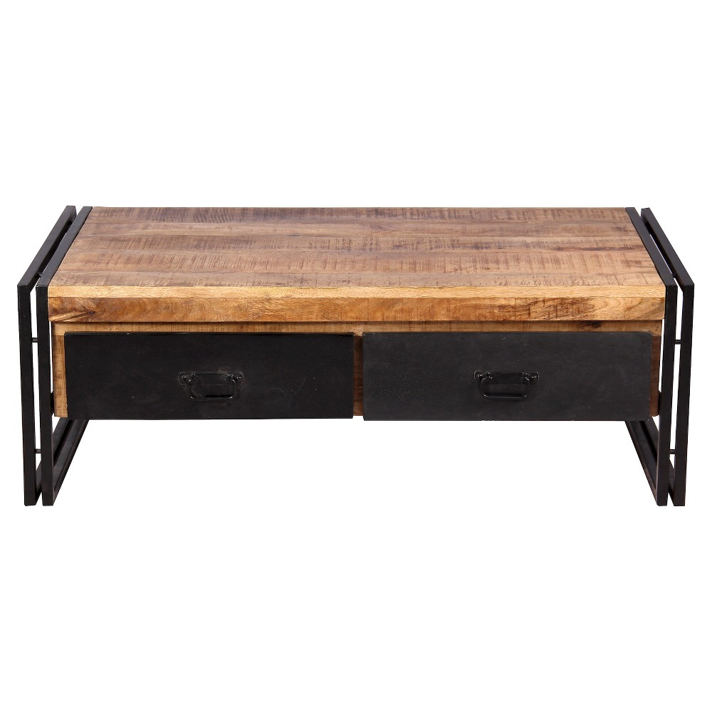 Reclaimed Wood Coffee Table with Black Metal Drawers - (16H x 41W x 24D) - Natural - Timbergirl
