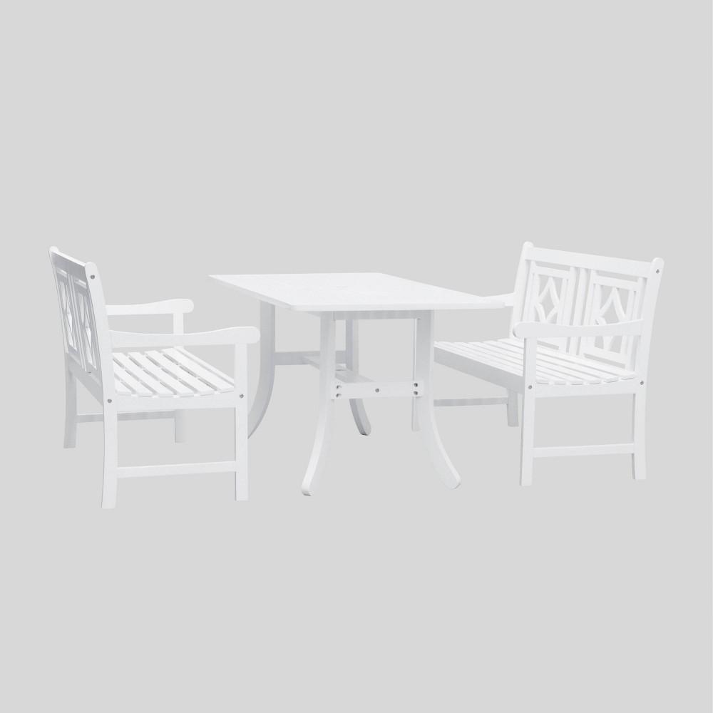 Image of Bradley 3pc Wood Curvy Outdoor Patio Dining Set - White - Vifah