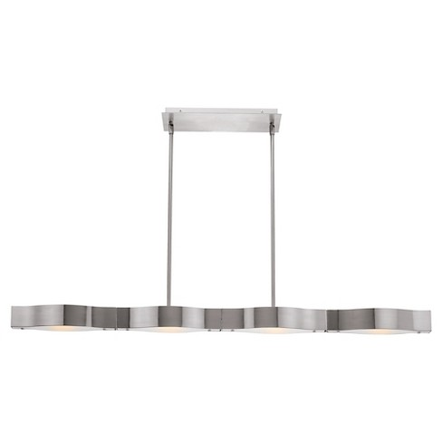 Titanium 4-Light Linear Pendant with Frosted Glass Shade - Brushed Steel - image 1 of 1