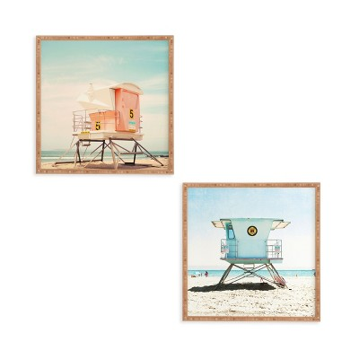 12 x12  2pc Santa Cruz Summer Framed Decorative Wall Art Set Blue - Deny Designs