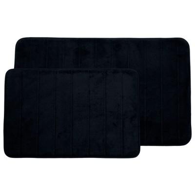 Stripe Memory Foam Striped Bath Mat Set 2pc Black - Yorkshire Home