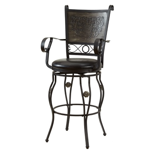 "30"" Tara Big & Tall Barstool Black/Gray - Powell Company - image 1 of 5"