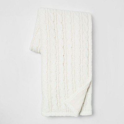 60 x50  Chunky Chenille Reverse to Sherpa Throw Reverse Cream - Threshold™