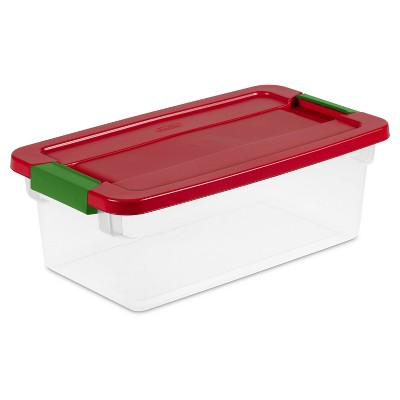 Sterilite 6qt Clear Latching Storage Box Red Lid and Green Latch