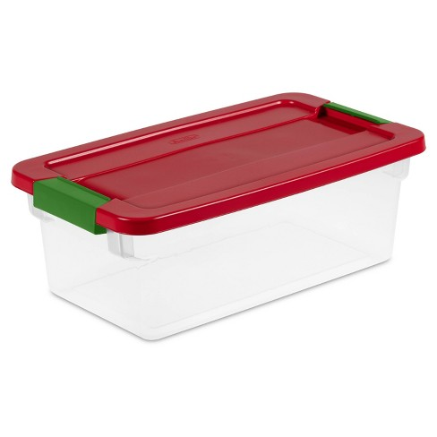Sterilite 6qt Clear Latching Storage Box Red Lid and Green Latch - image 1 of 4