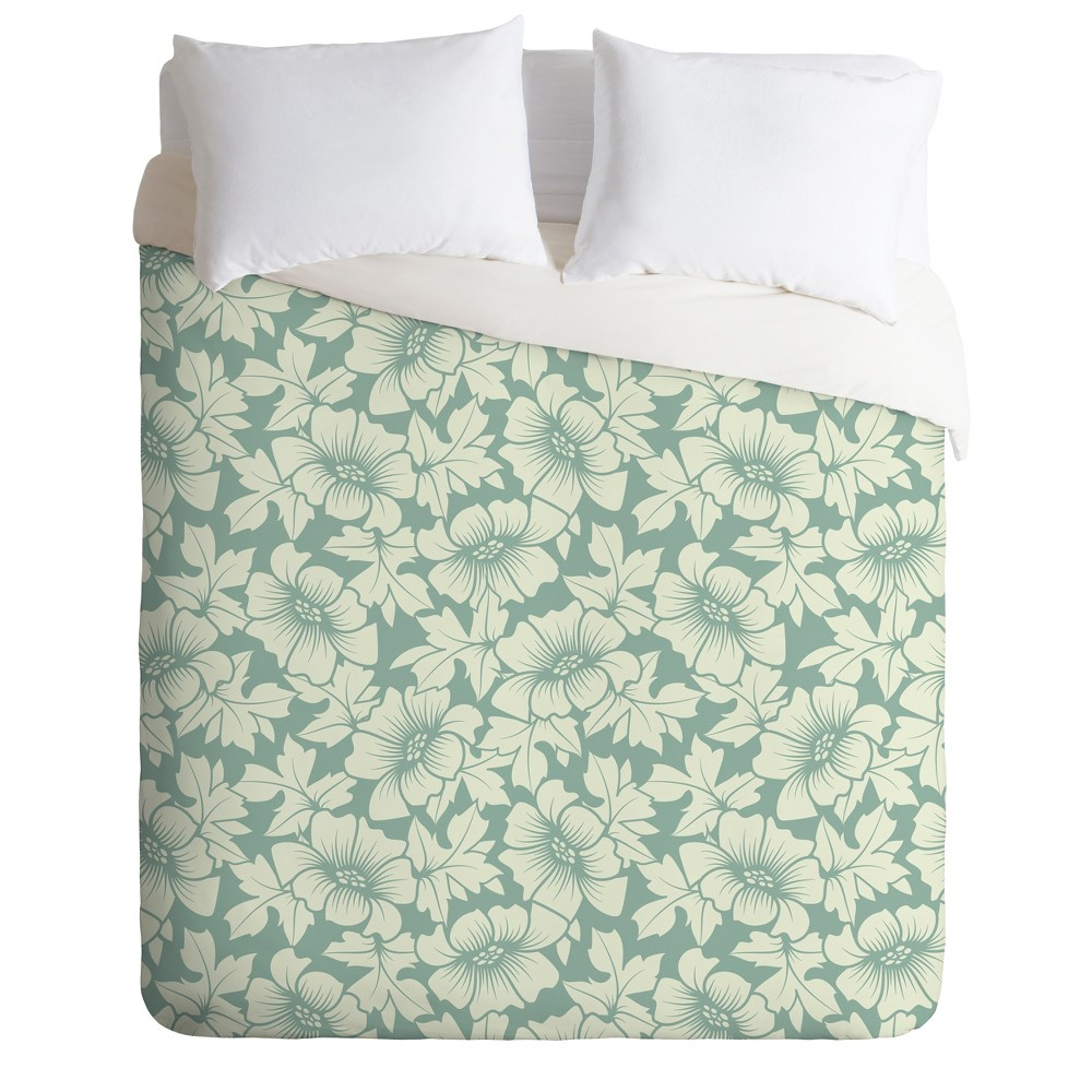 Full/Queen Sabine Reinhard Flowers Everywhere Duvet Set Green - Deny Designs