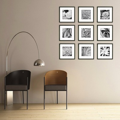 gallery perfect 9 piece wall frame set black target rh target com wall with photo frames ideas accent wall with picture frames