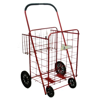 ATHome Wheeled Cart with Basket - Red