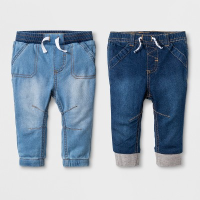Baby Boys' Knit Denim Jogger Set 1 Light Wash and 1 Medium Wash - Cat & Jack™ Blue Newborn