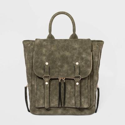 VR NYC Magnetic Closure Ring Shoulder Handbag - Olive Green