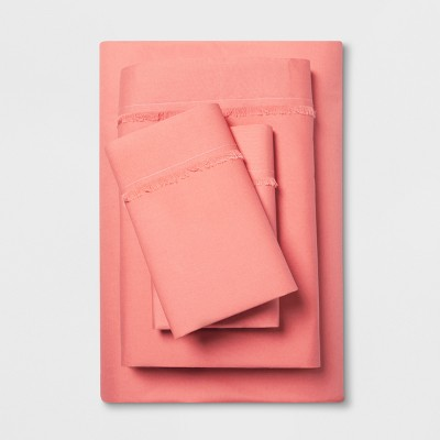Cotton Percale Solid Fringe Sheet Set (Queen)Coral - Opalhouse™