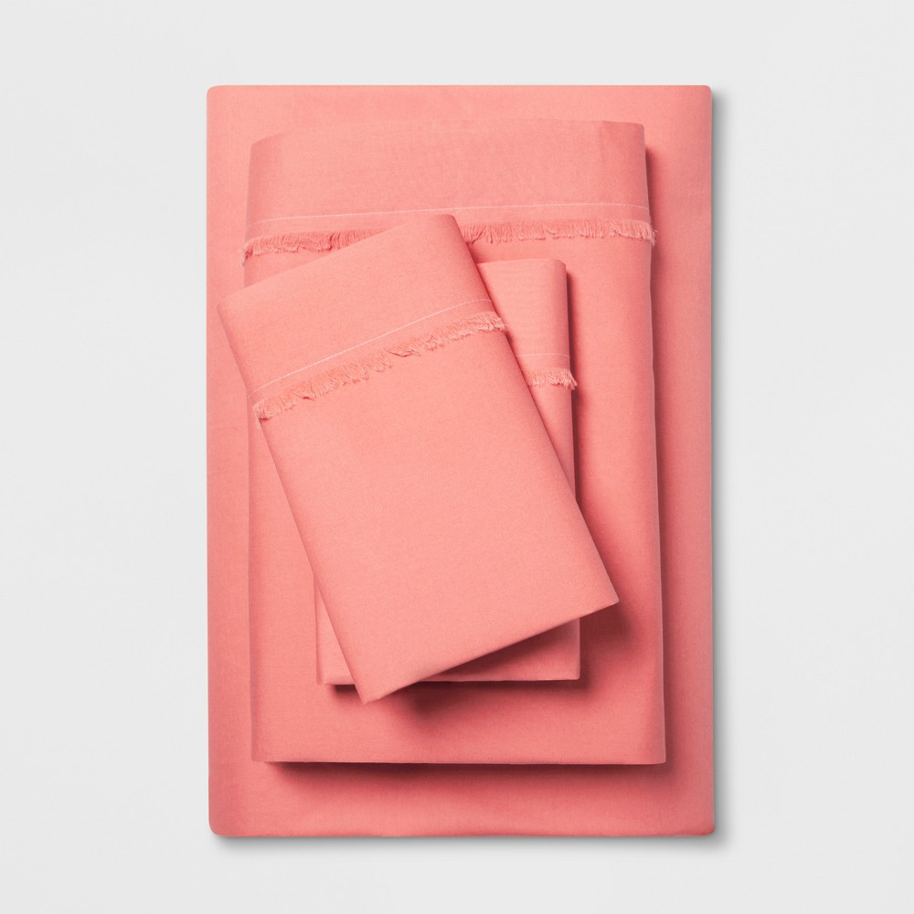 Cotton Percale Solid Fringe Sheet Set (Queen) Coral (Pink) - Opalhouse