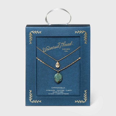 Semi-Precious Chrusocolla Pendant with Recycled Metal Layered Necklace - Universal Thread™ Sea Green