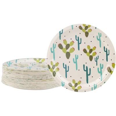 "Blue Panda 80-Count Disposable Paper Plates, Cactus Party Supplies Kids Birthdays Round 9""x9"""