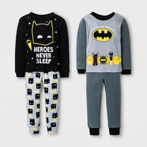 8f11febe4e03 Toddler Boys  DC Comics Batman 4pc Cotton Pajama Set - Black 3T   Target