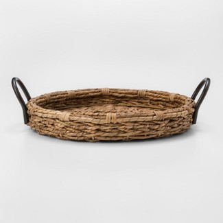 """15"""" Round Woven Seagrass Serving Tray With Handles Light Beige - Threshold™"""