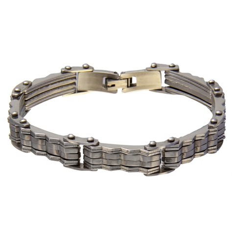 """Men's 1913 Stainless Steel Bracelet with Wavy Bars - Silver (8.5"""") - image 1 of 1"""