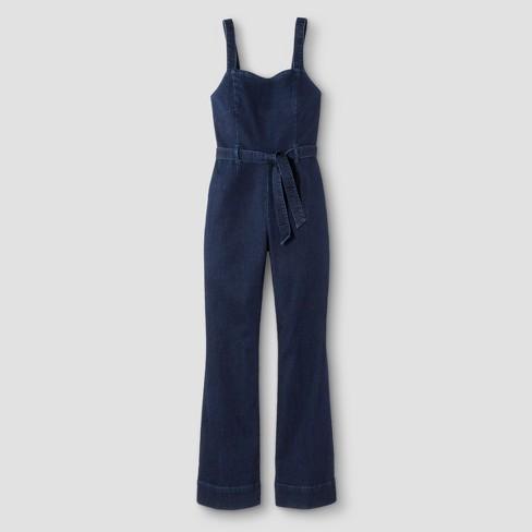8c62496f0d Women s Tie Waist Denim Jumpsuit - Dollhouse (Juniors ) Dark Wash M ...