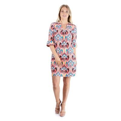24seven Comfort Apparel Women's Elbow Sleeve Tunic Mini Dress