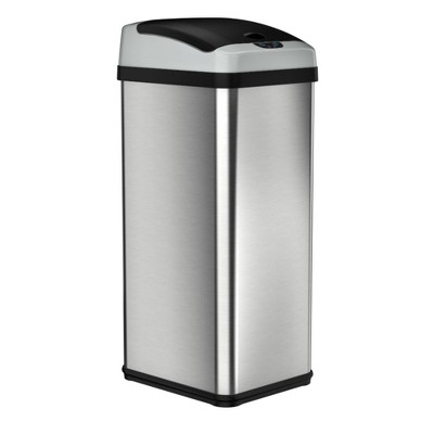 halo quality 13gal Platinum Rectangular Stainless Steel Motion Sensor Trash Can