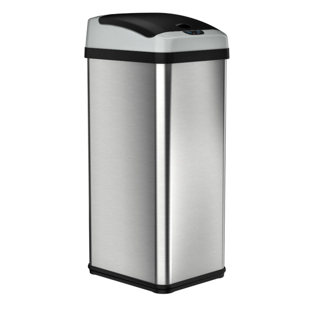 Image of 13gal Platinum Rectangular Stainless Steel Motion Sensor Trash Can - Halo, Silver