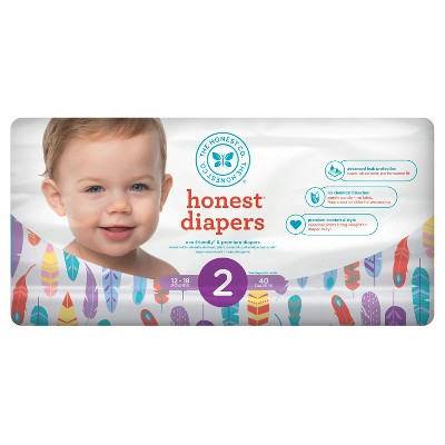 Honest Company Diapers, Painted Feathers - Size 2 (40ct)