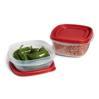 Rubbermaid 6pc 5 Cup Food Storage Container with Easy Find Lid, Clear Red