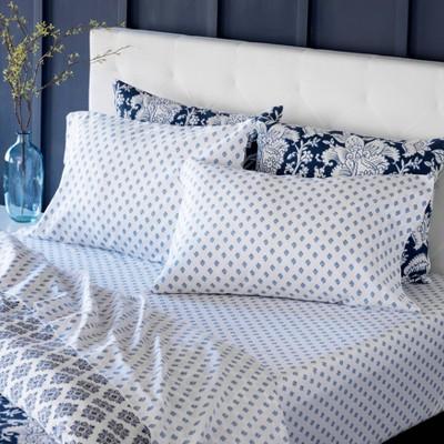 King Printed Cotton Sheet Set Block Federal Blue - Martha Stewart