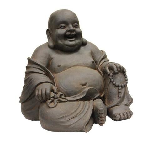 "16.5"" Polyresin Sitting Buddha Outdoor Zen Statue Rustic Brown - Hi-Line Gift - image 1 of 1"