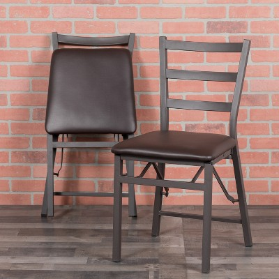 Emma and Oliver 2 Pack Ladder Back Metal Folding Chair with Brown Vinyl Seat