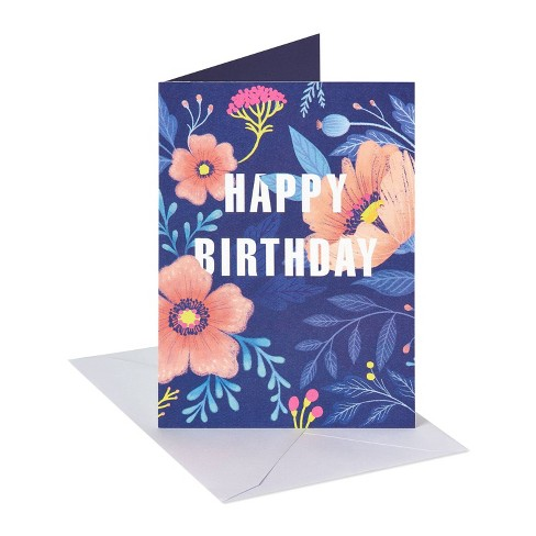 'Bright and Beautiful Day' Floral Birthday Card Navy Blue - image 1 of 4