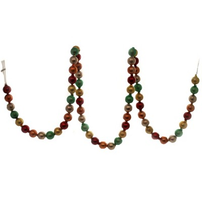 """Christmas 72.0"""" Pebbled Multi Colored Garland Tree Ball Red Green Silver Gold  -  Banners And Garlands"""