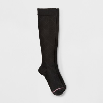Women's Dr. Motion Mild Compression Knee High Socks - Solid Diamond - Black 4-10
