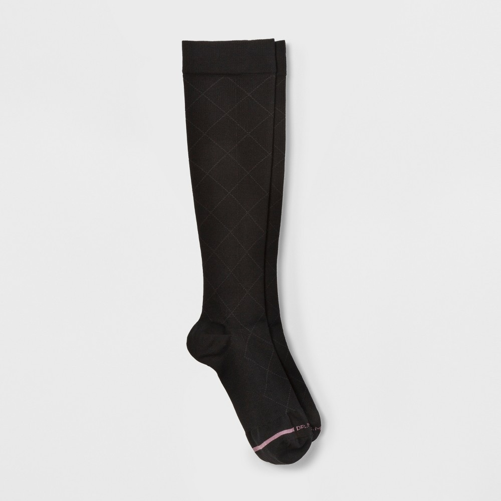 Image of Women's Dr. Motion Mild Compression Knee High Socks - Solid Diamond - Black 4-10, Size: Small