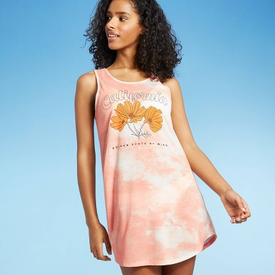 Women's Tie-Dye California Poppy Graphic Swim Cover Up - Awake Rose