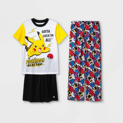Boys' Pokemon 3pc Pajama Set - White/Black
