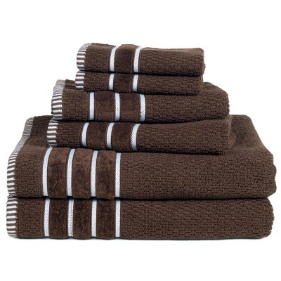 6pc Combed Cotton Bath Towels Sets Chocolate - Yorkshire Home