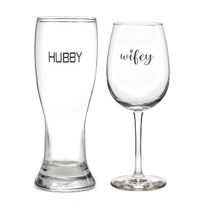 2ct Hubby' Pilsner Glass & 'Wifey' Wine Glass set