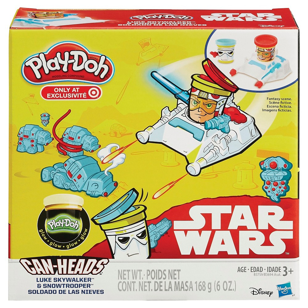 Play-Doh Star Wars Luke Skywalker and Snowtrooper Can-Heads Plus Glow Compound