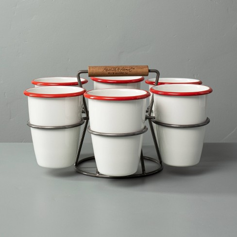 7pc 17oz Drink Caddy Set Red/Cream - Hearth & Hand™ with Magnolia - image 1 of 3