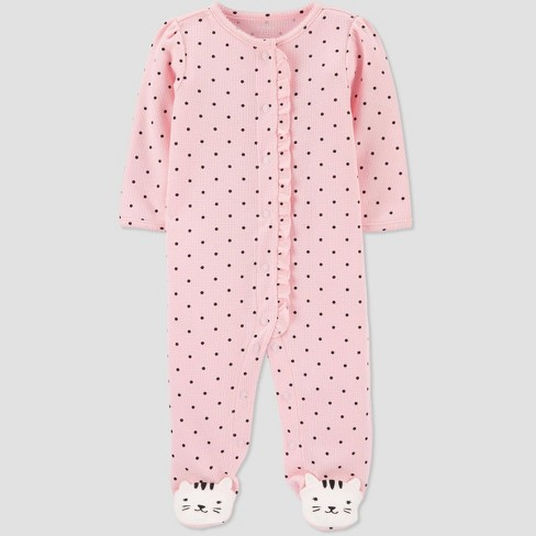 Baby Girls' Kitty Thermal Sleep N' Play - Just One You® made by carter's Pink - image 1 of 4