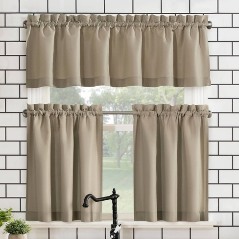 Martine Microfiber Semi Sheer Rod Pocket Kitchen Curtain Valance And Tiers Set No 918 Target