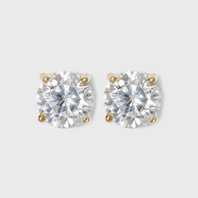 Cubic Zirconia Round Stud Earrings with 14k Gold Plating over Sterling Silver - A New Day™ Gold