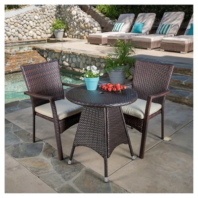 Georgina 3pc Wicker Patio Bistro Set with Cushions - Brown - Christopher Knight Home