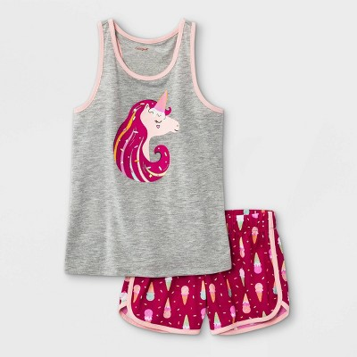 Girls' 2pc Unicorn Ice Cream Pajama Set - Cat & Jack™ Gray/Pink