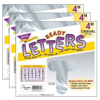 "3pk 4"" 71 per Pack Casual Uppercase Ready Letters Metallic Silver - TREND"