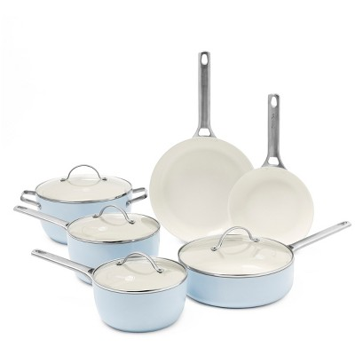 GreenPan Padova 10pc Ceramic Non-Stick Cookware Set Light Blue
