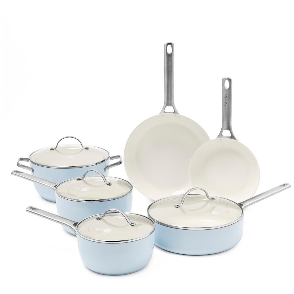 Image of GreenPan Padova 10pc Ceramic Non-Stick Cookware Set Light Blue