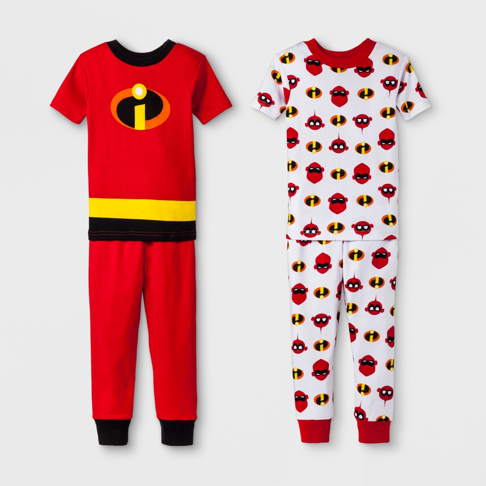 Toddler Boys' The Incredibles 2 4pc Pajama Set - Red 5T